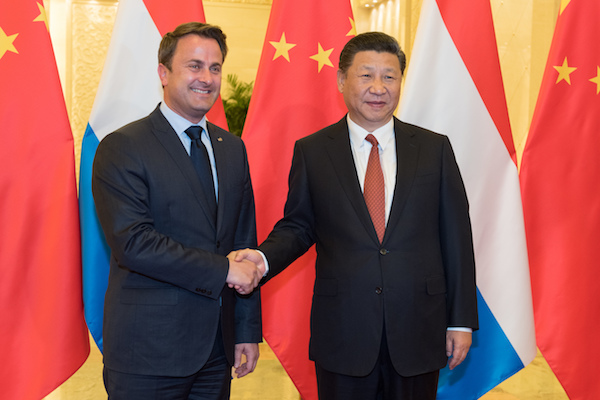 Prime Minister Xavier Bettel, with President of China Xi Jinping
