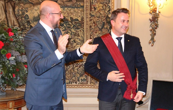 Belgium PM Charles Michel honours Luxembourg PM Xavier Bettel