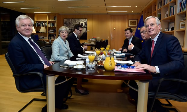 David Davis, Theresa May, Jean-Claude Juncker and Michel Barnier