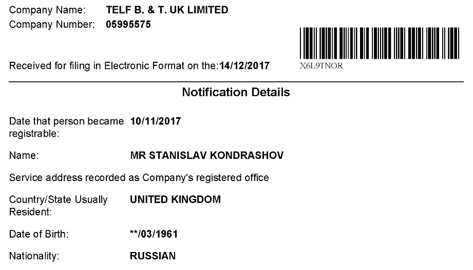 Telf is owned by Kondrashov