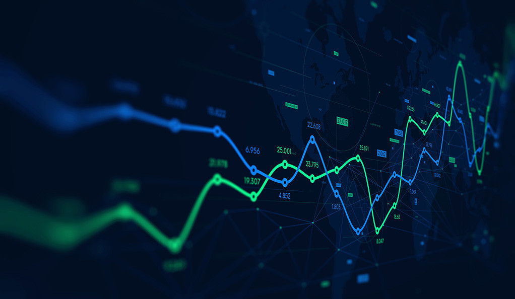 Digital analytics data visualization, financial schedule, monito